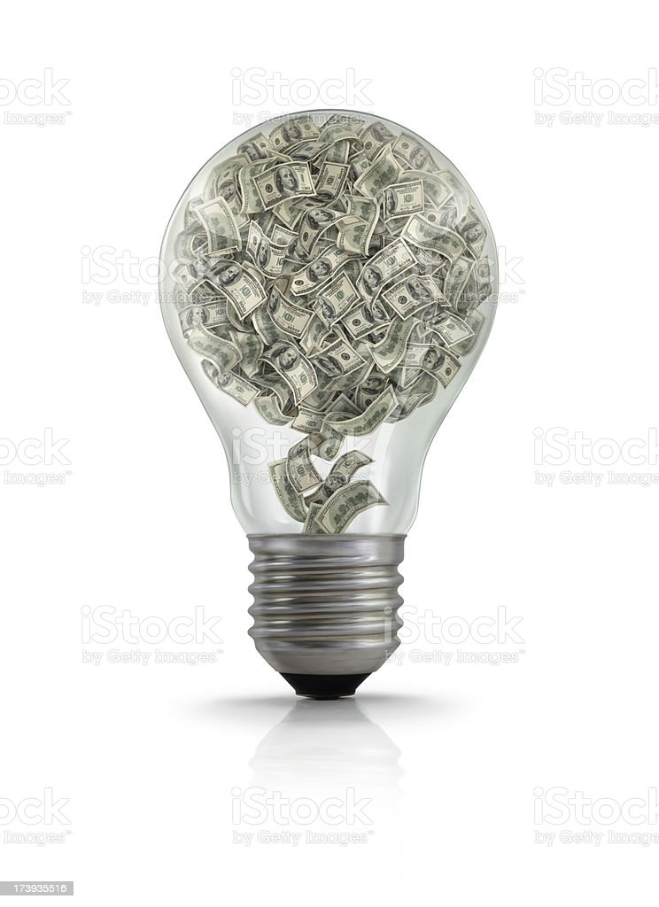 Money In Light Bulb royalty-free stock photo