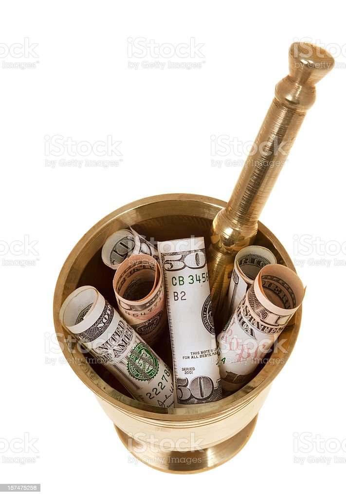 Money in mortar royalty-free stock photo