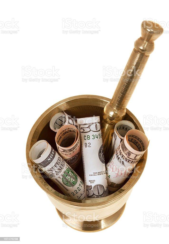 Money in mortar stock photo