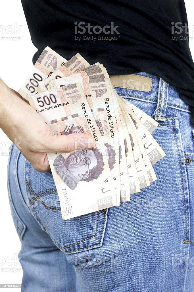 Money in my pocket! stock photo