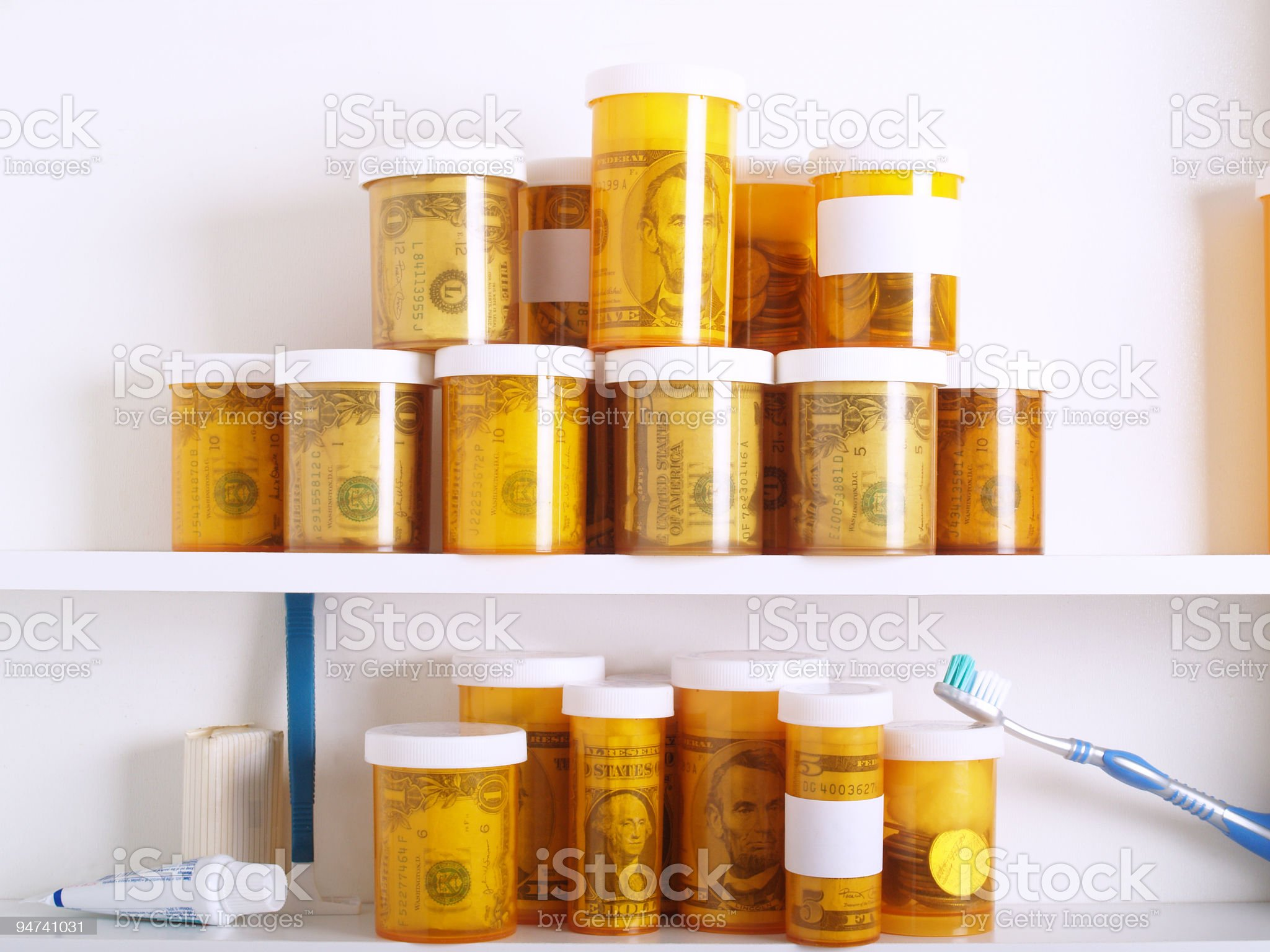 Money in Pharmaceuticals royalty-free stock photo