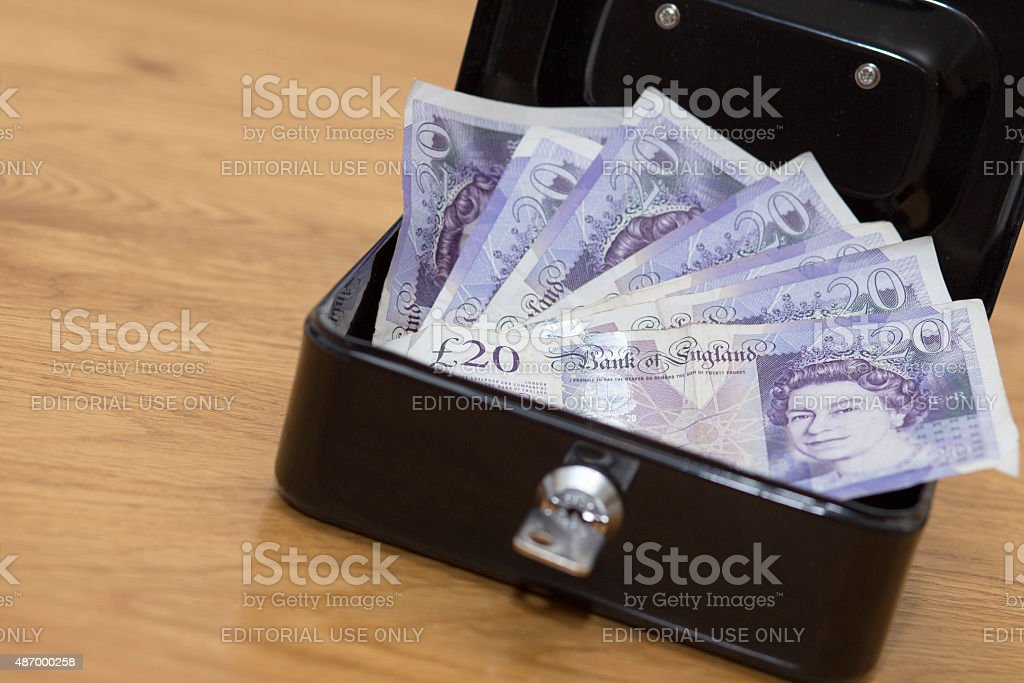 Money in security box stock photo