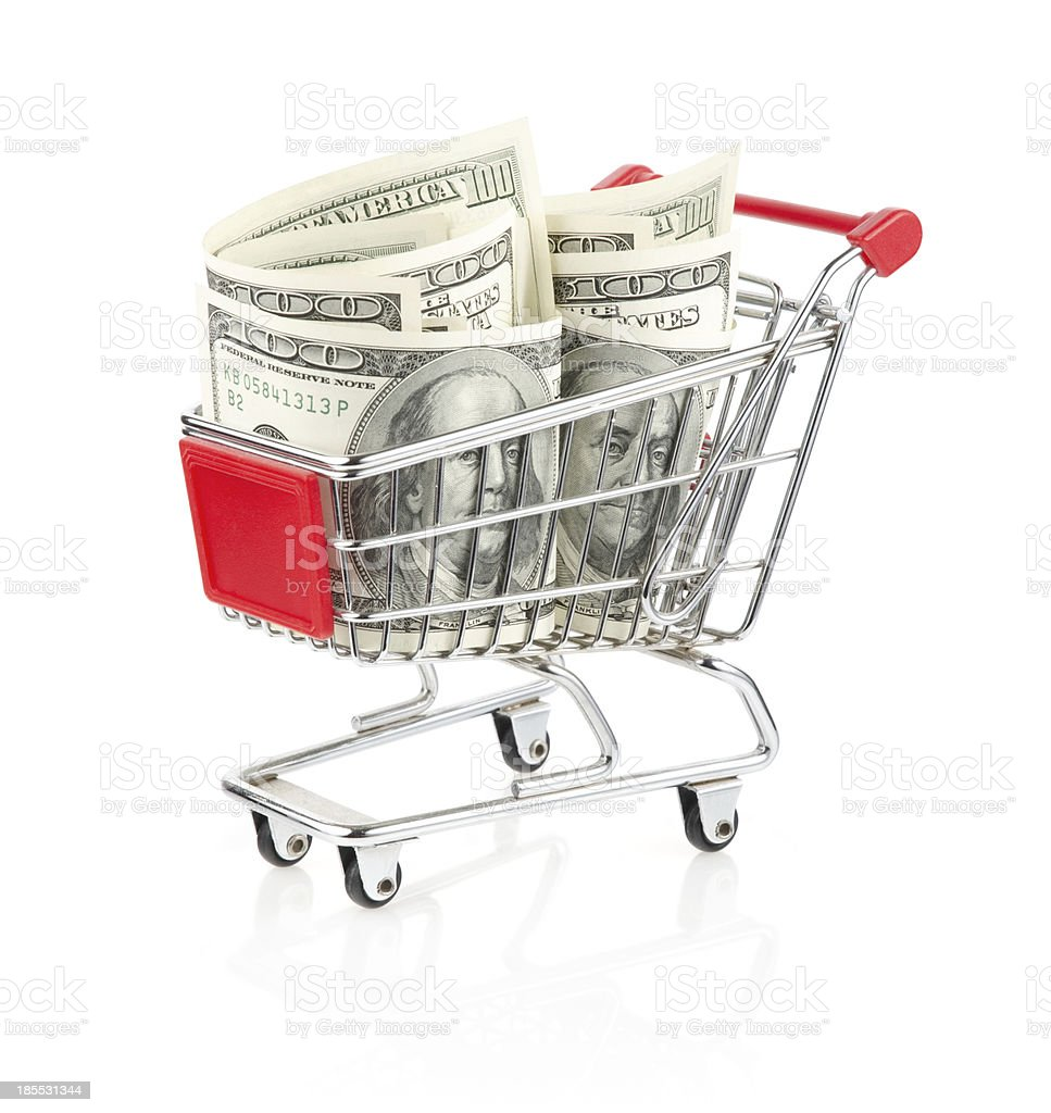 Money in Shopping Cart royalty-free stock photo