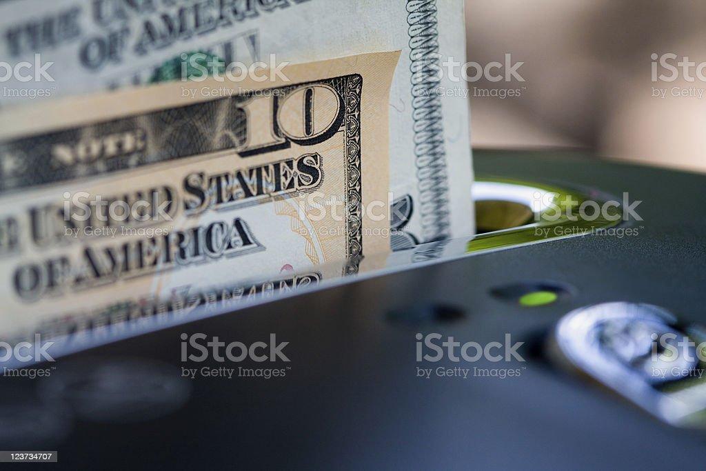 Money in Shredder royalty-free stock photo