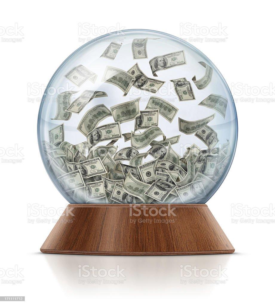 Money in Snow Globe stock photo