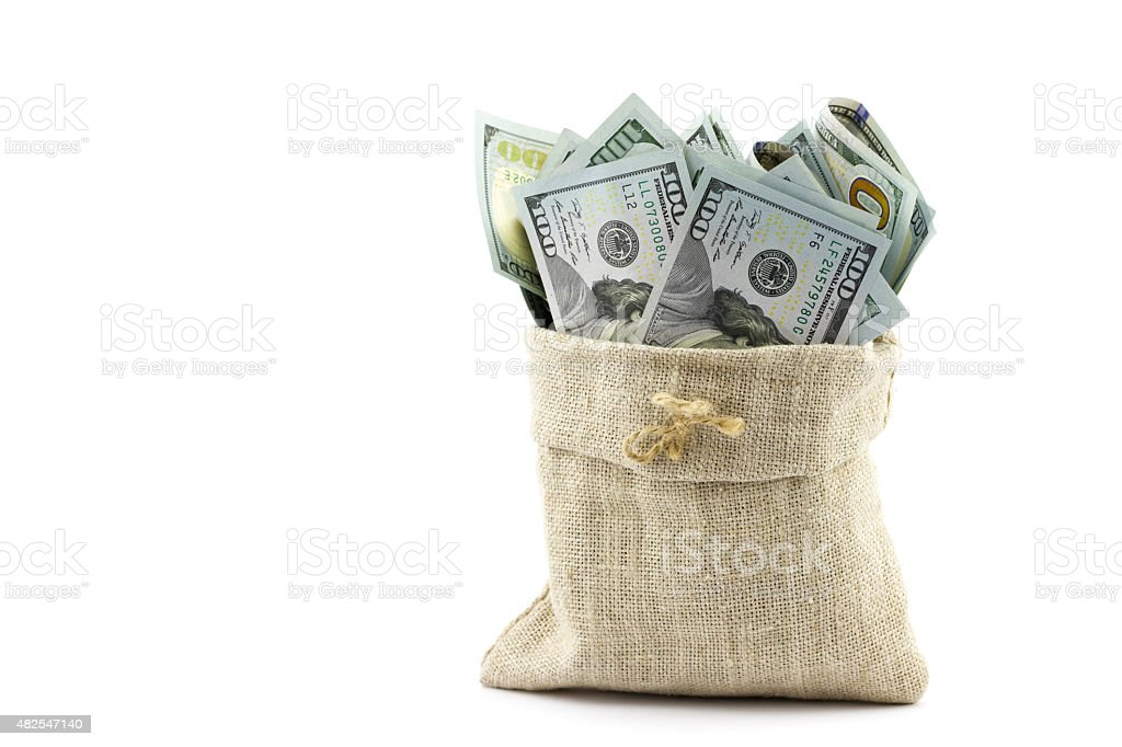 Money in the bag isolated on a white background stock photo