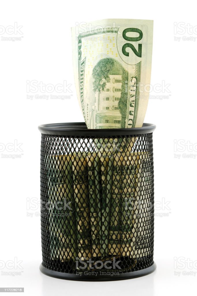 Money in the basket royalty-free stock photo