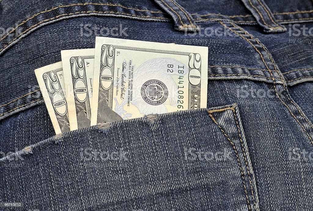 money in the hip pocket royalty-free stock photo