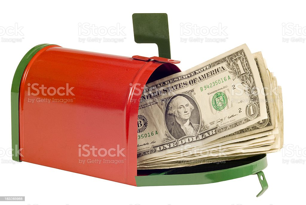 Money In The Mail For Christmas stock photo