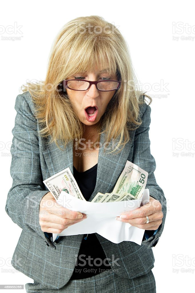 Money in the mail stock photo