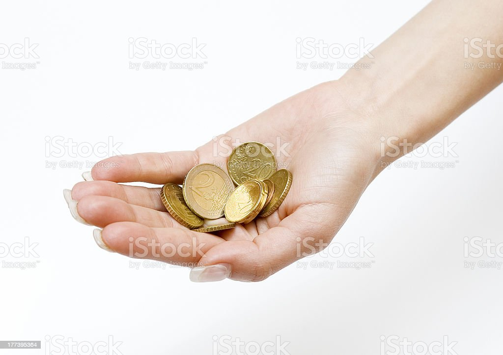 Money in the Palm royalty-free stock photo