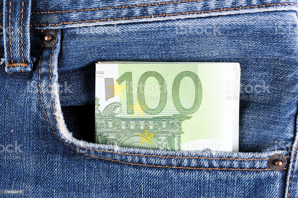 Money in the pocket royalty-free stock photo