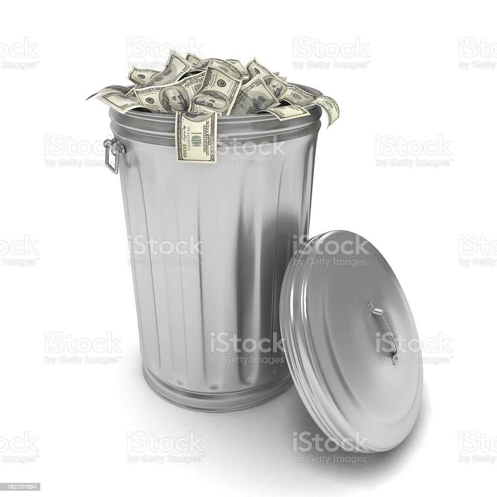 Money in Trash stock photo