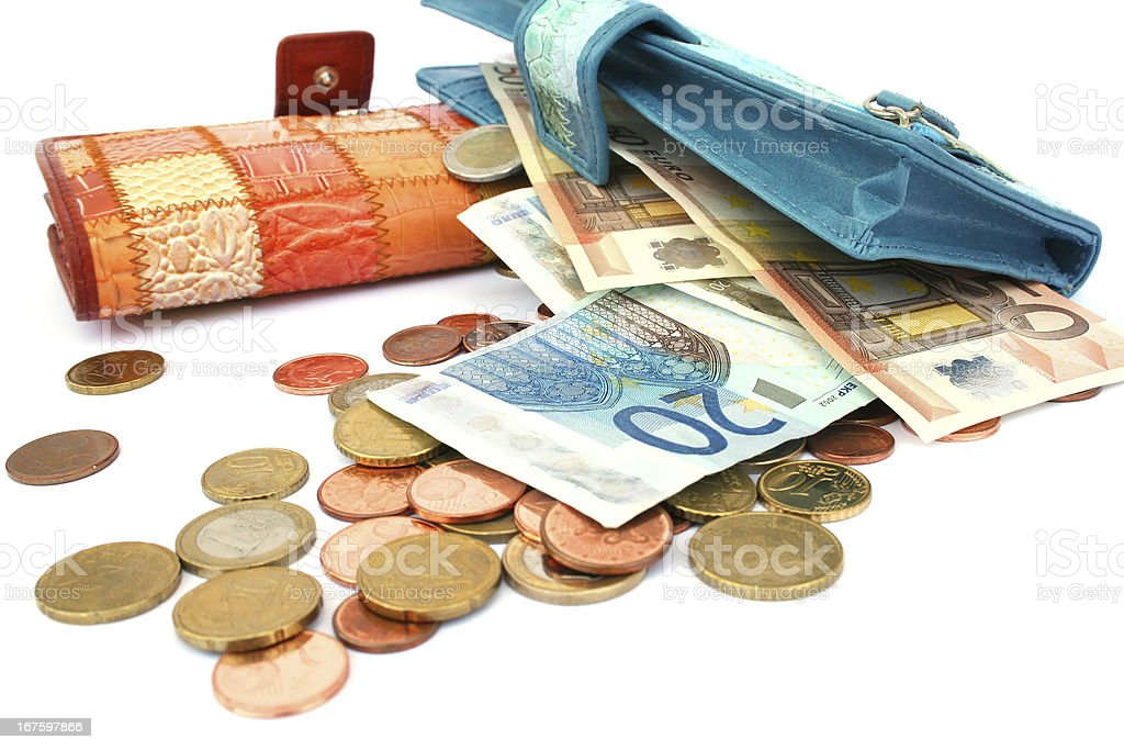 Money in wallets royalty-free stock photo