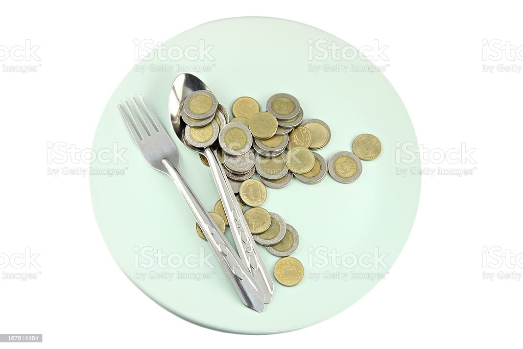 Money is in the green plate. royalty-free stock photo