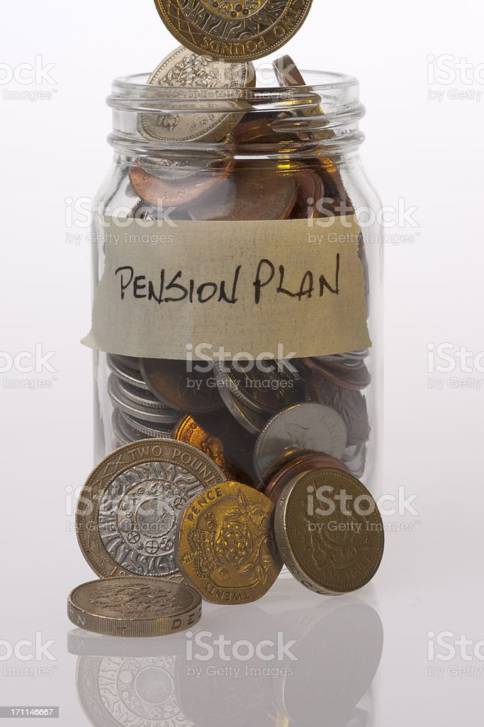 Money Jar British Pension Plan royalty-free stock photo