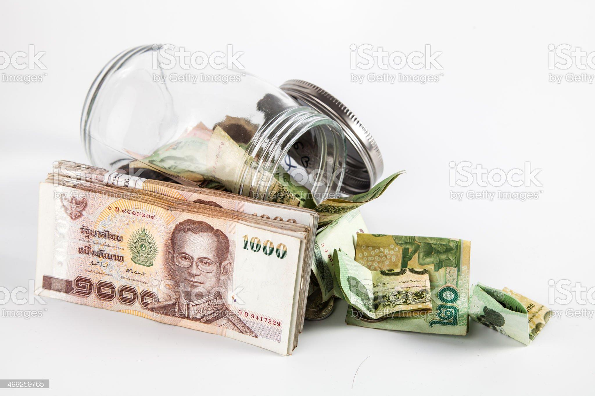Money jar with isolate white background royalty-free stock photo