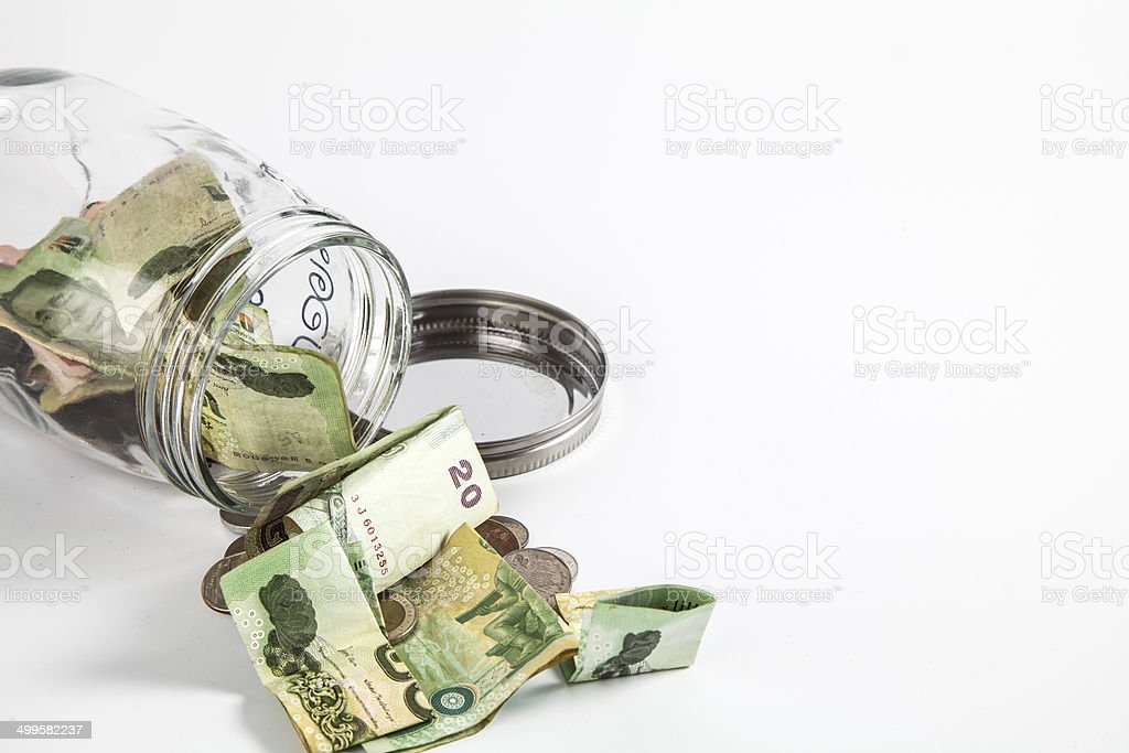 Money jar with isolate white background royalty-free stock photo
