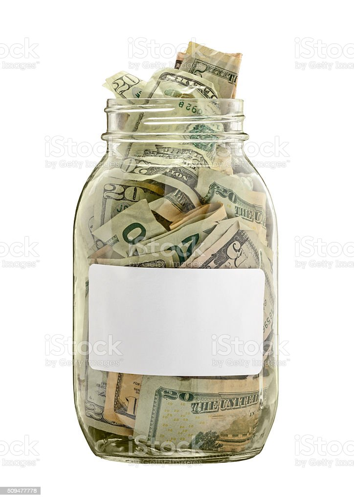 Money Jar With White Label Isolated on White stock photo