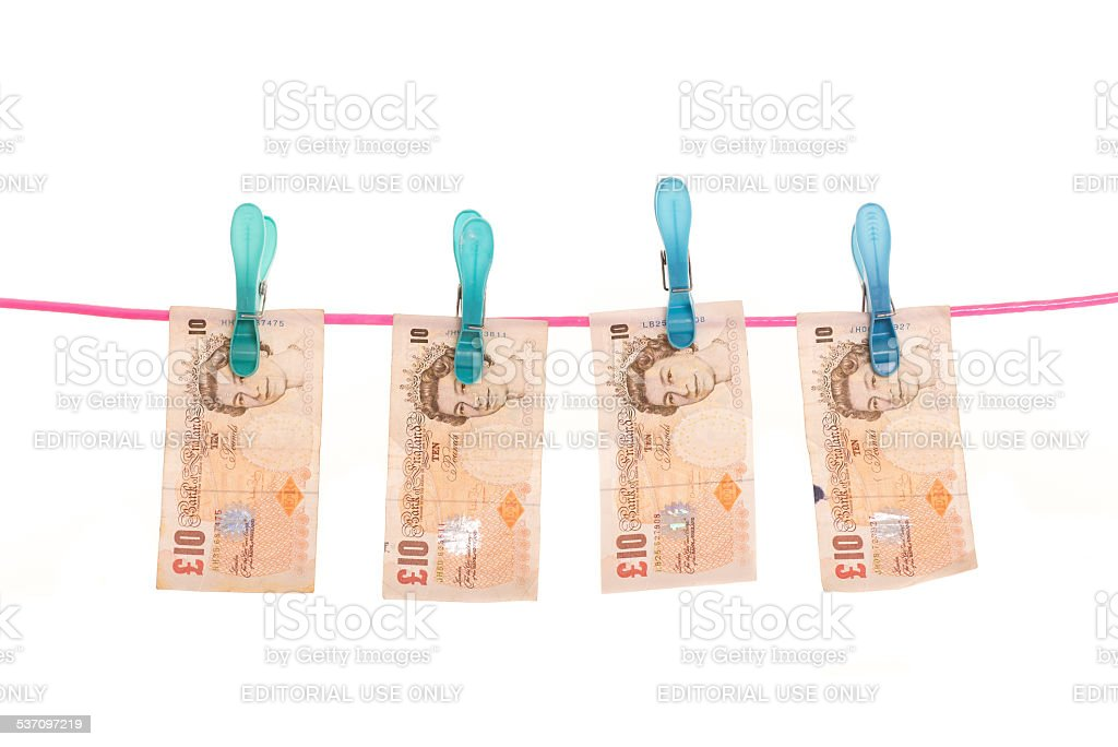 Money laundering - UK Pound stock photo