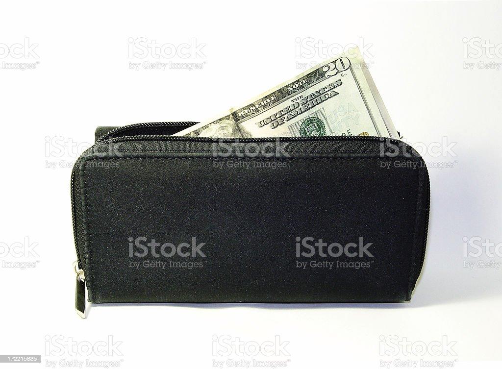 Money leaving the wallet. Retirement Savings royalty-free stock photo