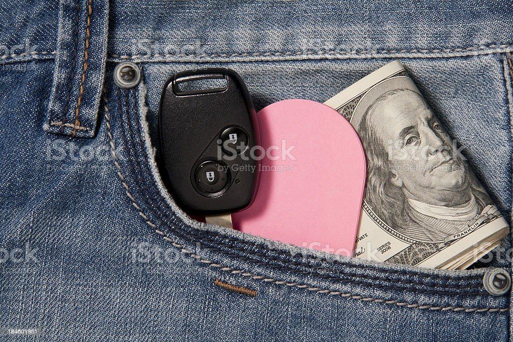 Money, love and car key royalty-free stock photo