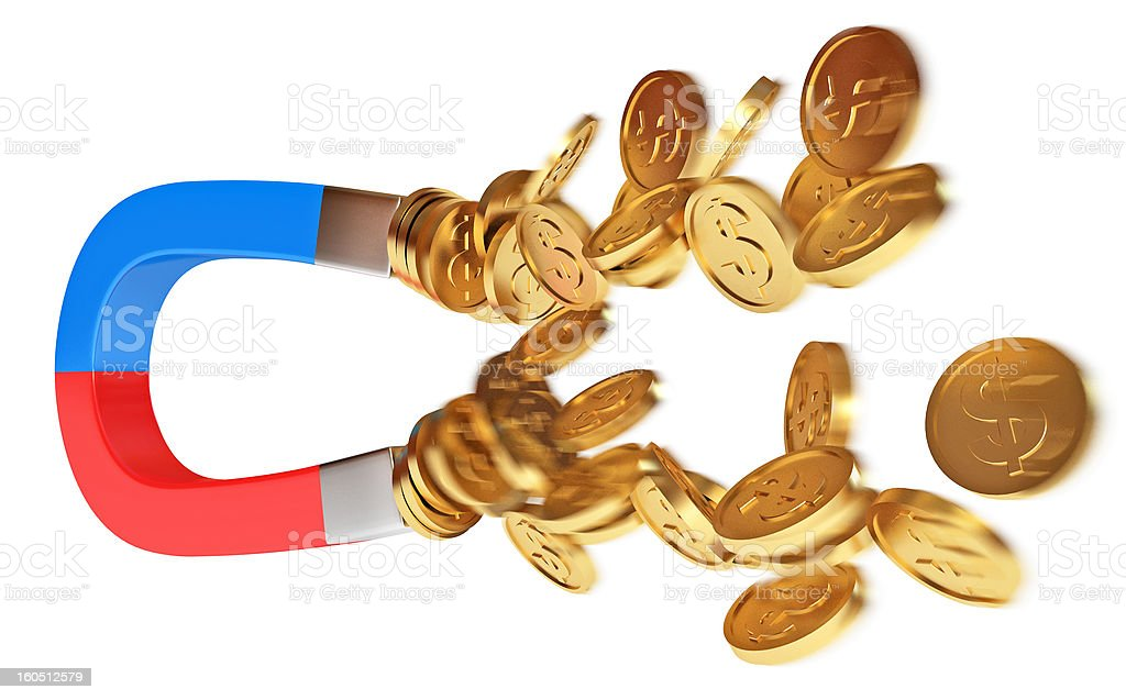 Money magnet with dollar coins royalty-free stock photo