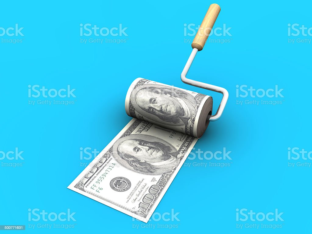 Money Maker and 100 Dollars stock photo