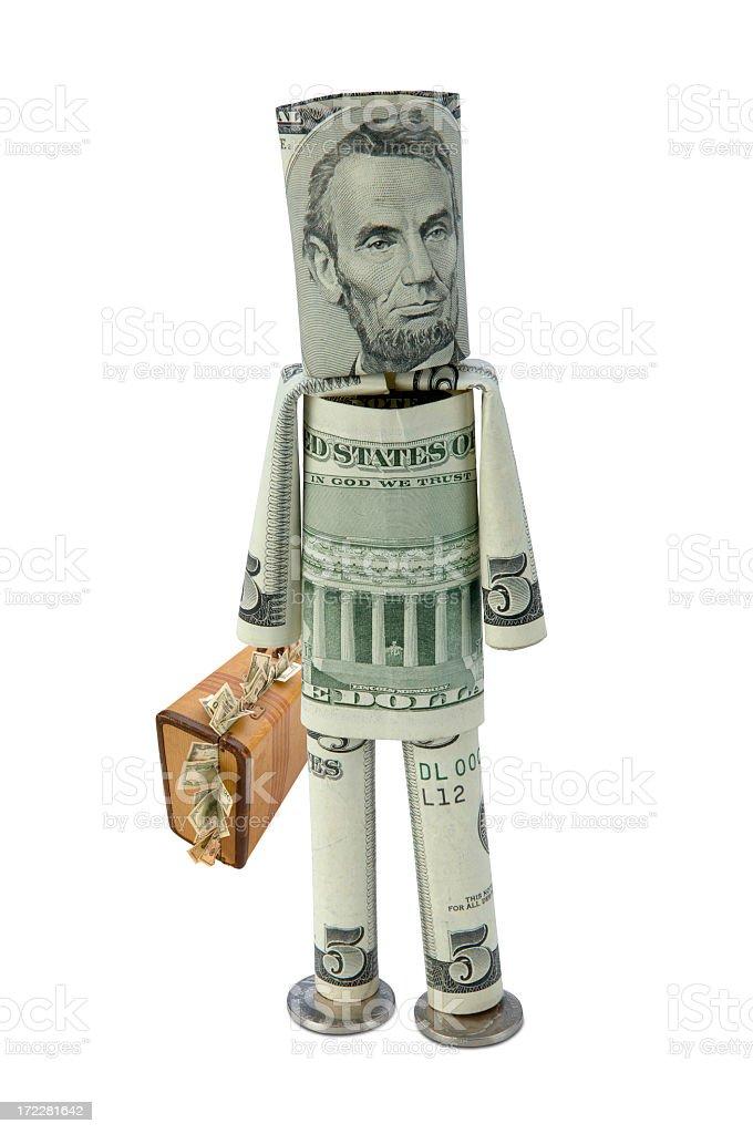Money Man with Cash Suitecase stock photo