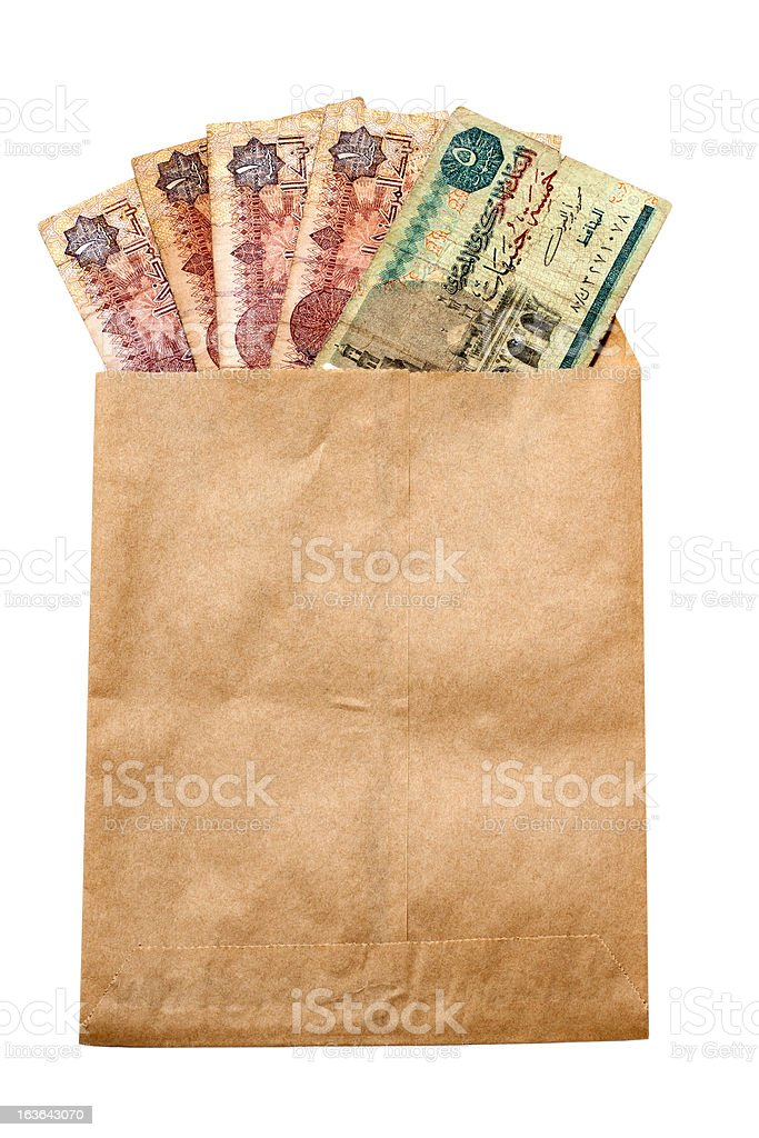 money of Egypt in paper envelop stock photo