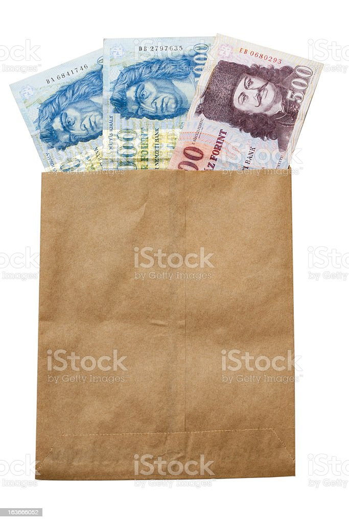 money of Hungary in paper envelop stock photo