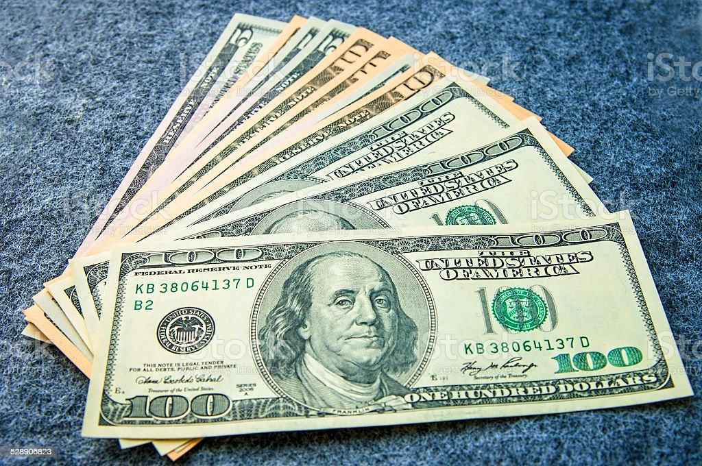 Money of various denominations stock photo