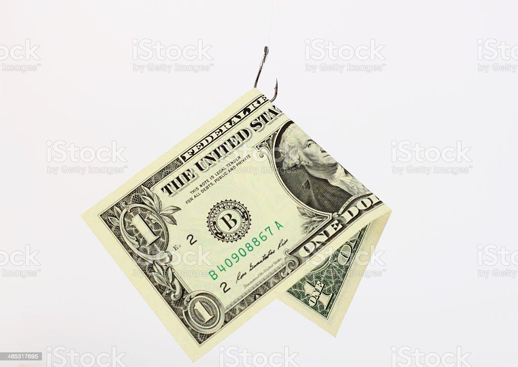 Money on a fishhook royalty-free stock photo