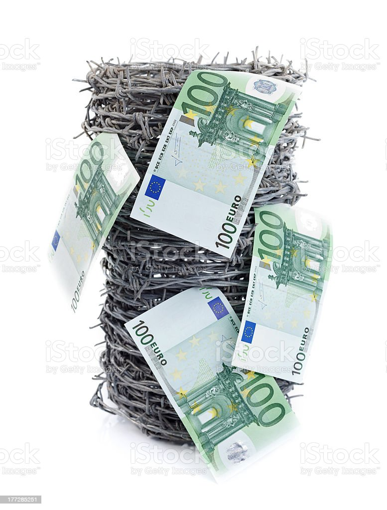 Money on barbed wire royalty-free stock photo