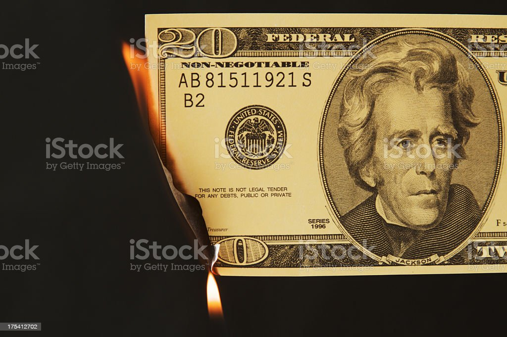 Money on Fire royalty-free stock photo