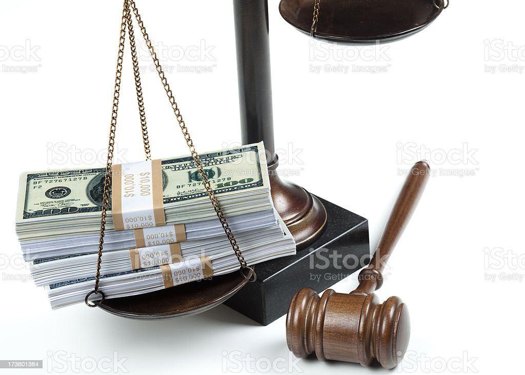 Money on scale of justice royalty-free stock photo