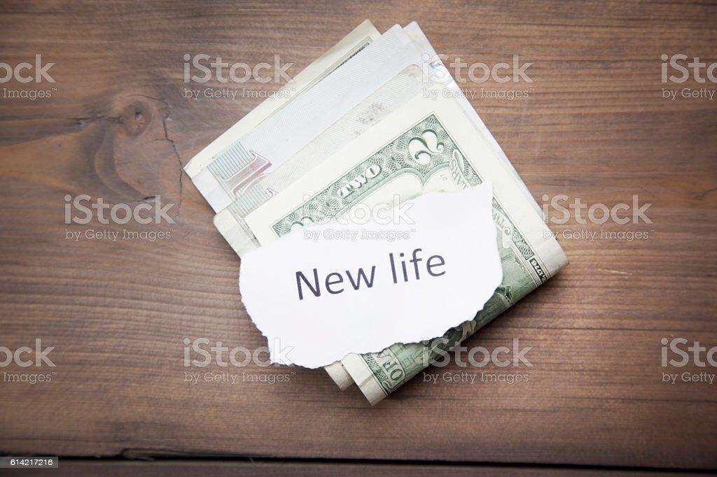 money on table stock photo