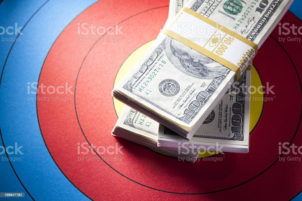 Money on Target royalty-free stock photo