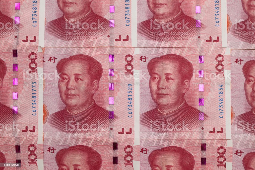 Money - One hundred Chinese yuan paper banknotes stock photo