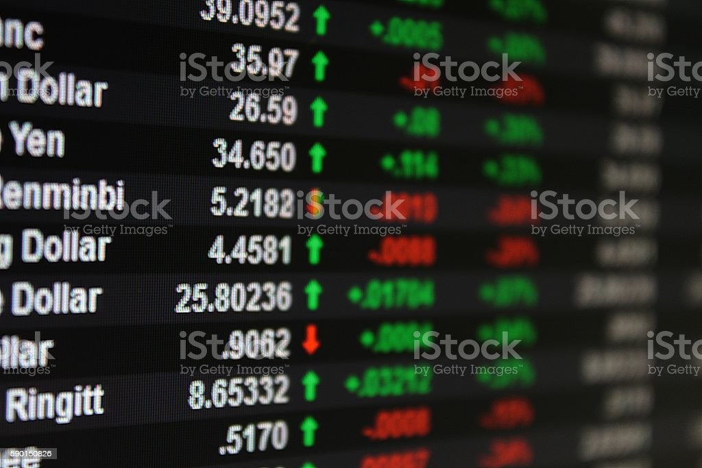 Money or currency exchange rate on board, display or monitor stock photo
