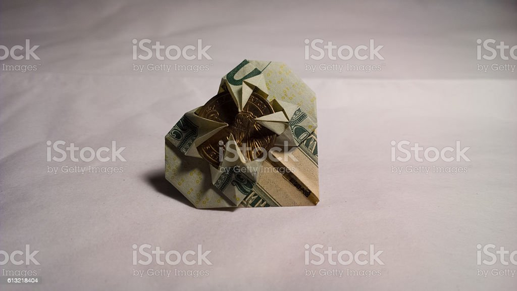 Money Origami Heart  - Surface Level stock photo