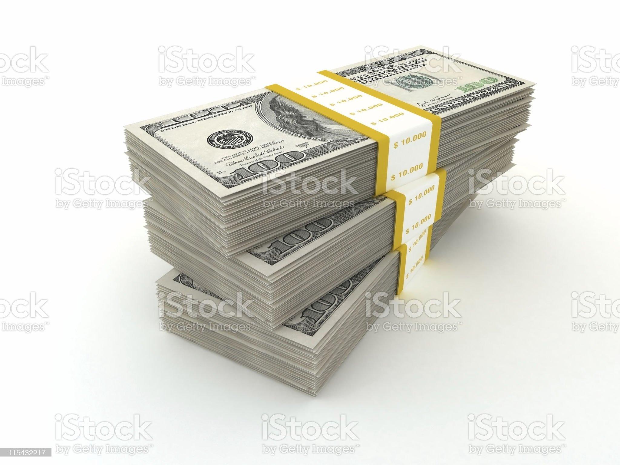 Money packs isolated on white royalty-free stock photo