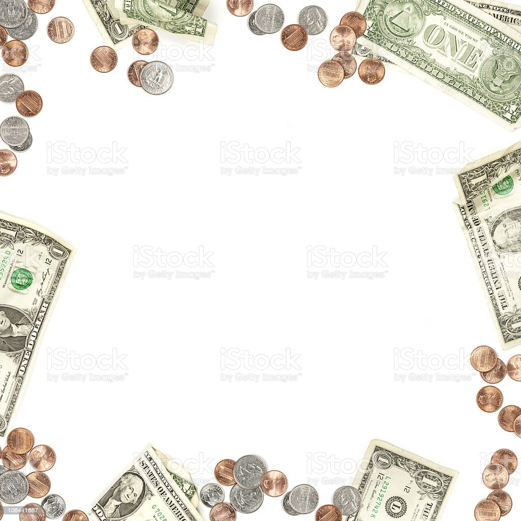 Money Paper and Coin Currency Border stock photo