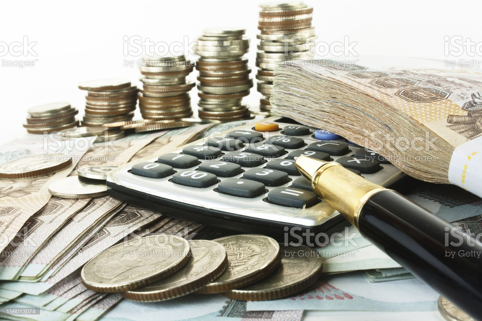 Money, pen and calculator royalty-free stock photo