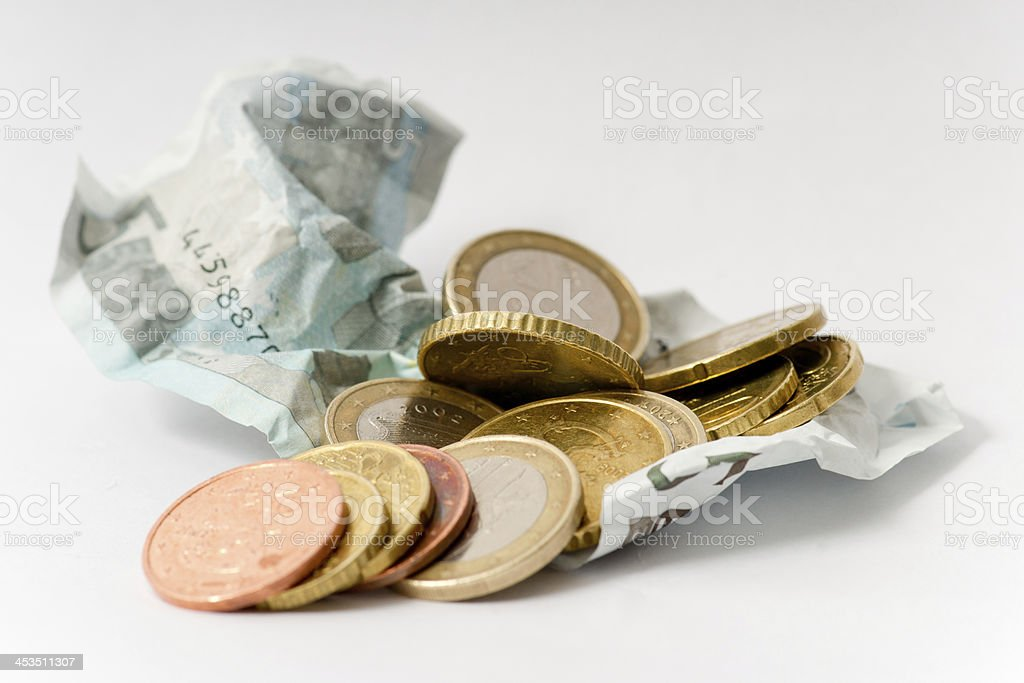 money (5 euro note and coins) stock photo