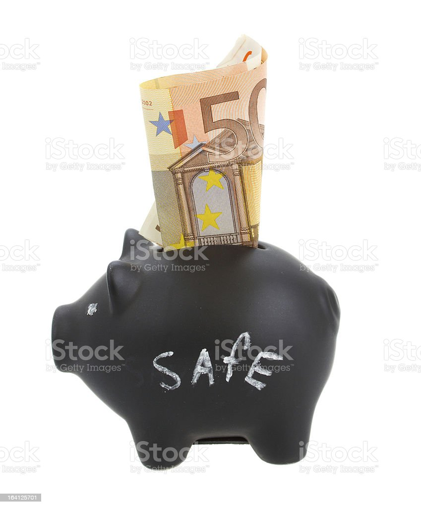 money pig with euro banknote royalty-free stock photo