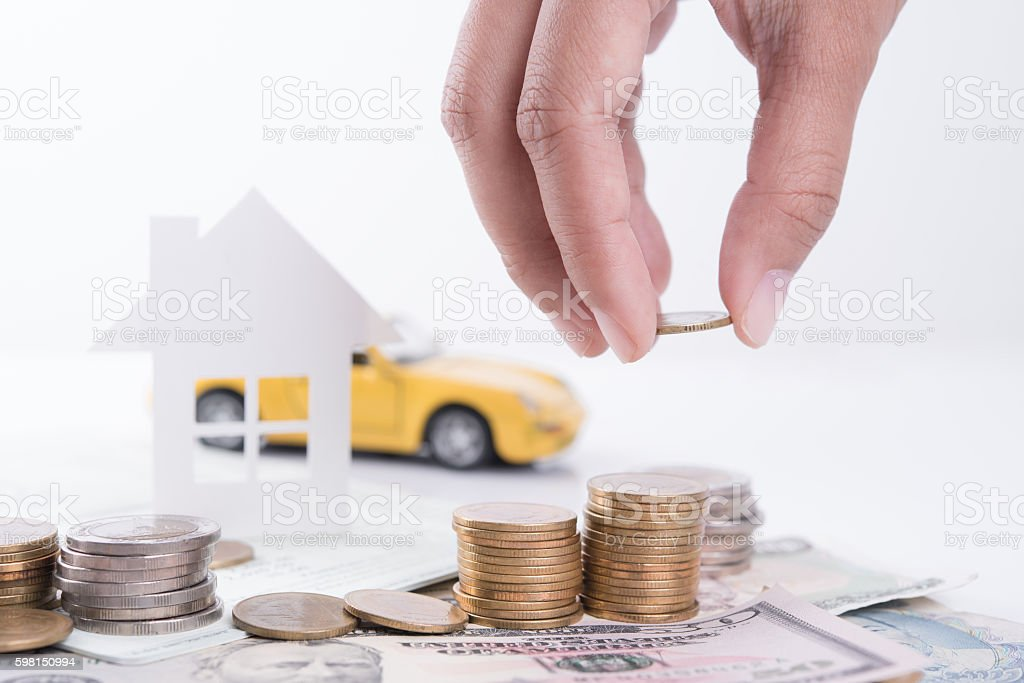 money, pile coin with account book and paper home, car stock photo