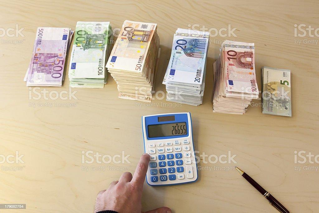Money pile, Euros royalty-free stock photo