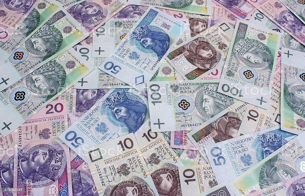 Money polish background stock photo