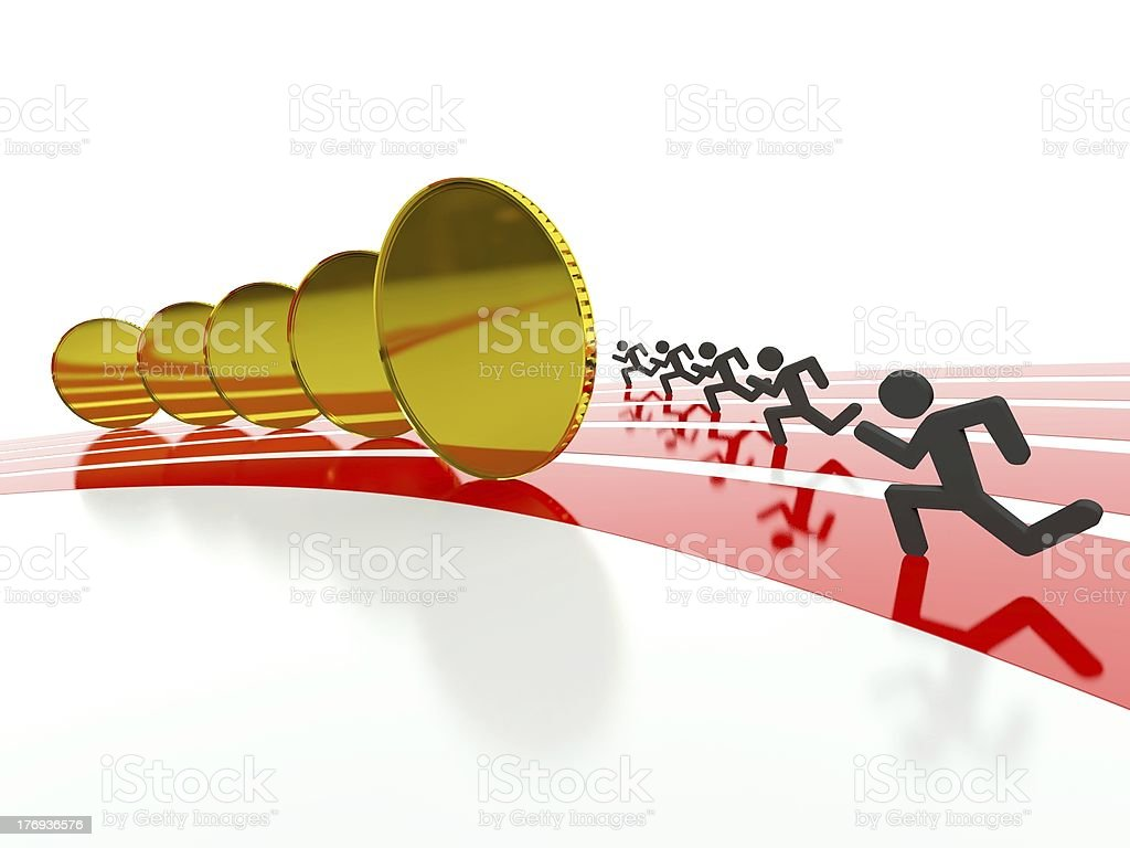 Money racing on track, competition symbol royalty-free stock photo